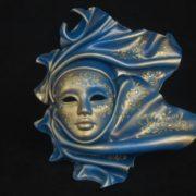 Maschera Pelle Vento Ceramica Grande Blu